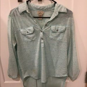 Turquoise Top with Sheer Back
